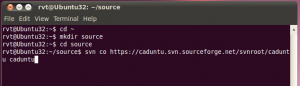 Create source directory and download CADUbtu from SVN